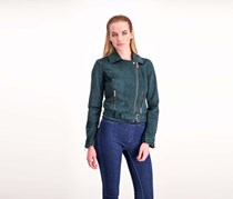Wildflower Women Faux-Suede Moto Jacket, Emerald