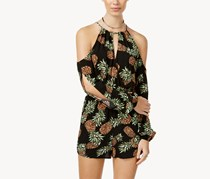 Juniors Cold-Shoulder Romper, Caviar Black Combo