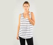 Maison Jules Cotton Striped V-Neck Tank Top, Bright White Combo