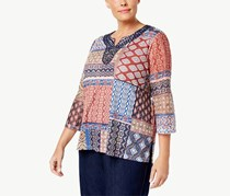 Alfred Dunner Patchwork Print Knit Top, Red/Blue Combo