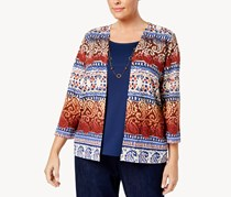 Alfred Dunner Plus Size Layered Look Sweater, Blue Combo