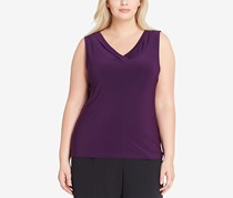Tahari ASL Drape-Neck Shell French Top, Purple