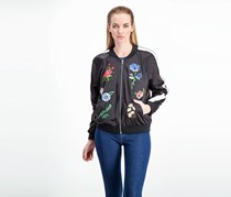 Womens CR Embroidered Long Sleeves Bomber Jacket, Black