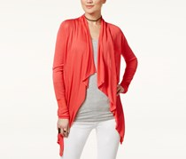 INC Petite Open-Front Draped Illusion Cardigan, Orange