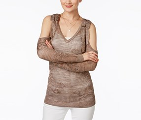 INC Womens Metallic Off-The-Shoulder Sweater, Olive Drab