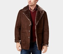 Men's Faux-Leather Coat, Espresso Brown