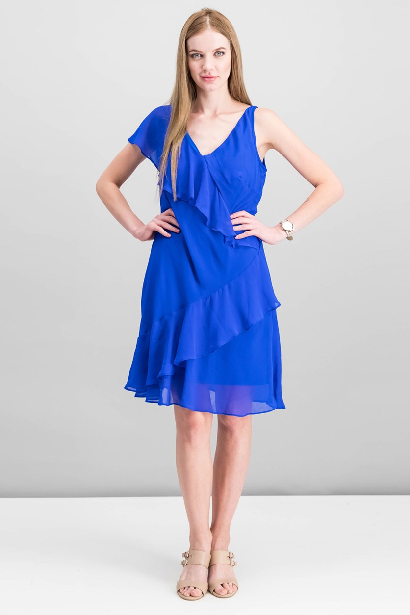 Women Ruffled Georgette Dress, Deep Lapis