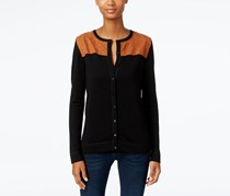 August Silk Faux-Suede Yoke Cardigan, Black/Tan