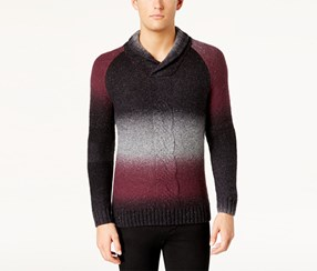 I-N-C Mens' Ombre Pullover Sweater, Vintage Wine