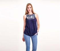 Women's Embroidered Ribbed Top, Navy Blue