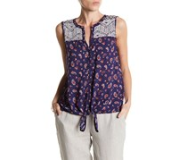 Lucky Brand Paisley Tie Front Blouse, Blue Combo