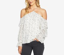 1.STATE Off-The-Shoulder Ruffled-Sleeve Top, Antique White