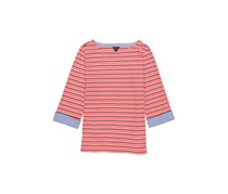 Nautica Women's 3/4 Cuffed Sleeve Chambray Casual Top, Dreamy Coral