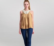 Mango Women Sleeveless Embroidered Top, Brown
