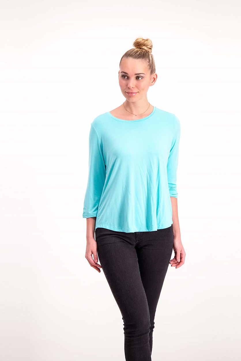 Petite Three-Quarter-Sleeve, Aqua