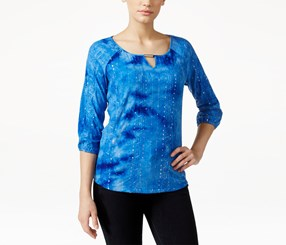 Jm Collection Petite Keyhole Tie-Dyed Sequined Top, Blue