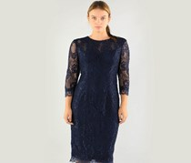 JS Collection Women's Midi Lace Shift Dress, Navy