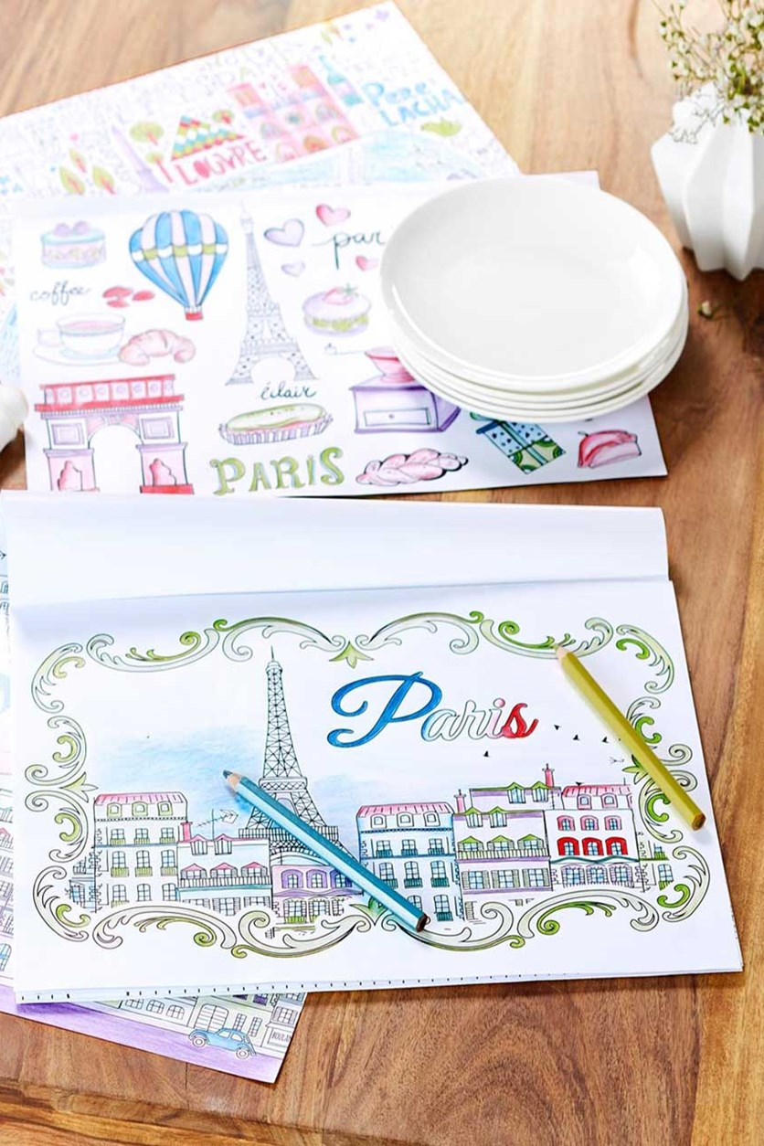 Coloring Placemats With Colored Pencils, Black/White