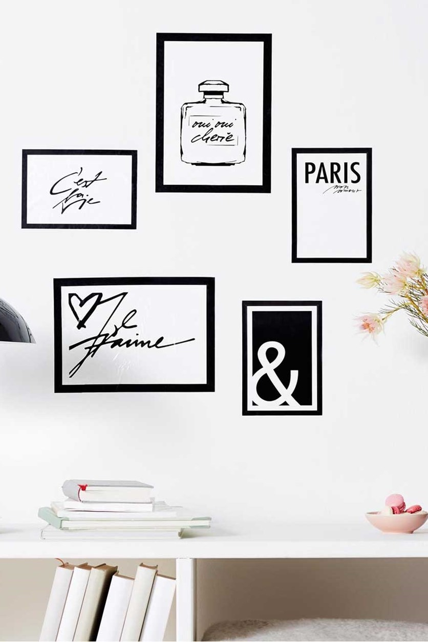 Wall Tattoo Frame Set of 5, Black/White