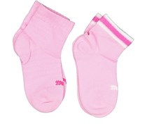 Puma Kids Girl 2 Pack Striped Socks, Prism Pink