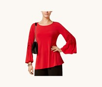 Alfani Womens Ruched Bell-Sleeve Top, Banner Red
