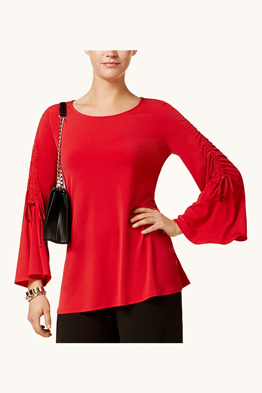 Womens Ruched Bell-Sleeve Top, Banner Red