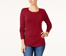 Jm Collection Petite Rivet-Cuff Sweater, Red Amore