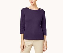 Cotton Zip-Shoulder Sweater, Purple Dynasty