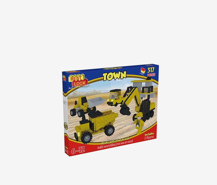 317 Pieces Builders Yard Construction Toy, Yellow/Blue