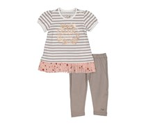 GUESS Baby Girls' Short Sleeve Tunic With Heart Tulle Trim and Legging Set, Grey/White