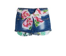 Guess Little Girls Denim Shorts with Floral Belt, Blue