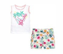 Guess Set with Shorts Set Tank Top And Pants, White Combo