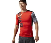 Reebok Men's One Series PW3R Compression Training CrossFit Shirt, Red Combo