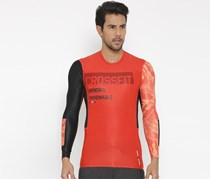Reebok Men RCF Compression Printed T-Shirt, Coral Red/Black