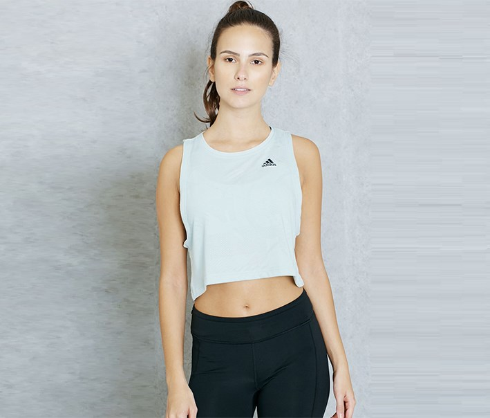 Women's Boxy Crop Tank Top, Vapour Green