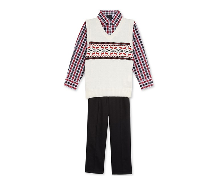 3-Pc. Plaid Shirt, Fair Isle Sweater Vest & Pants Set, Red/Black/Ivory