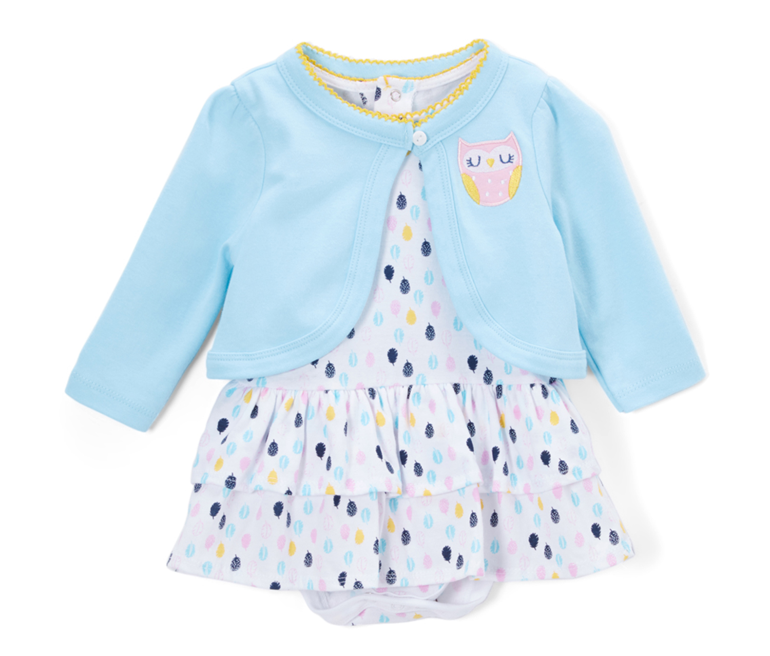 Bon Bébé Blue Pretty Owl Skirted Bodysuit & Cardigan, White/Blue