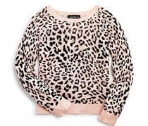Bloomie's Girls Leopard Print Pullover Sweater, Pink/Black
