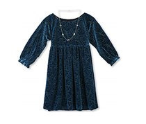 Speechless Big Girls Dress with Necklace, Teal