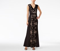 Calvin Klein Sequin-Lace Scuba Gown, Black