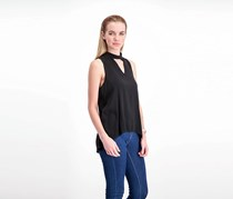 Elan Sleeveless Choker Top, Black