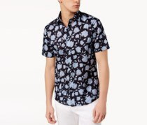 Michael Kors Mens Slim-Fit Floral-Print Shirt, Midnight