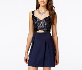 B Darlin Junior's Sequined Fit-and-Flare Scuba Dress, Navy