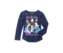 Disney Frozen Making Memories Cotton T-Shirt, Navy Blue