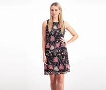 Women Floral-Embroidered Sleeveless Dress, Black Combo
