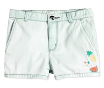 Roxy Embroidered Cotton Denim Short, Bleached Blue