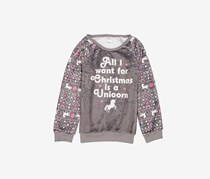 Cold Crush Holiday Unicorn Fuzzy Plush Sweatshirt, Grey