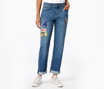 Earl Jeans Patched Boyfriend Jeans, Denim