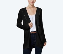 Hippie Rose Juniors' Laced-Back Open-Front Cardigan, Black