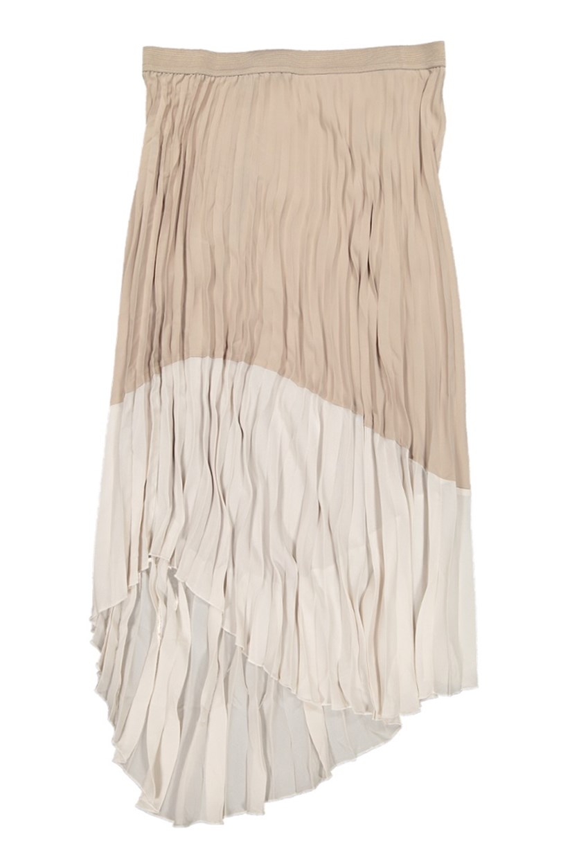 Women's Pleated Contrast Skirt, White Sand/Goat